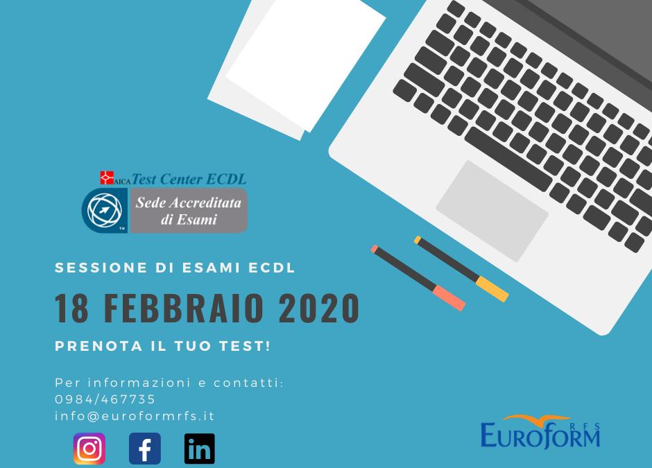 Sessione d'esame ECDL – Febbraio 2020!