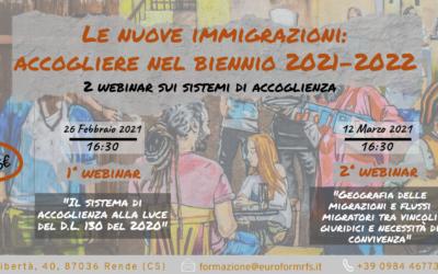 Ciclo di 2 Webinar – Le nuove immigrazioni: accogliere nel biennio 2020-2021